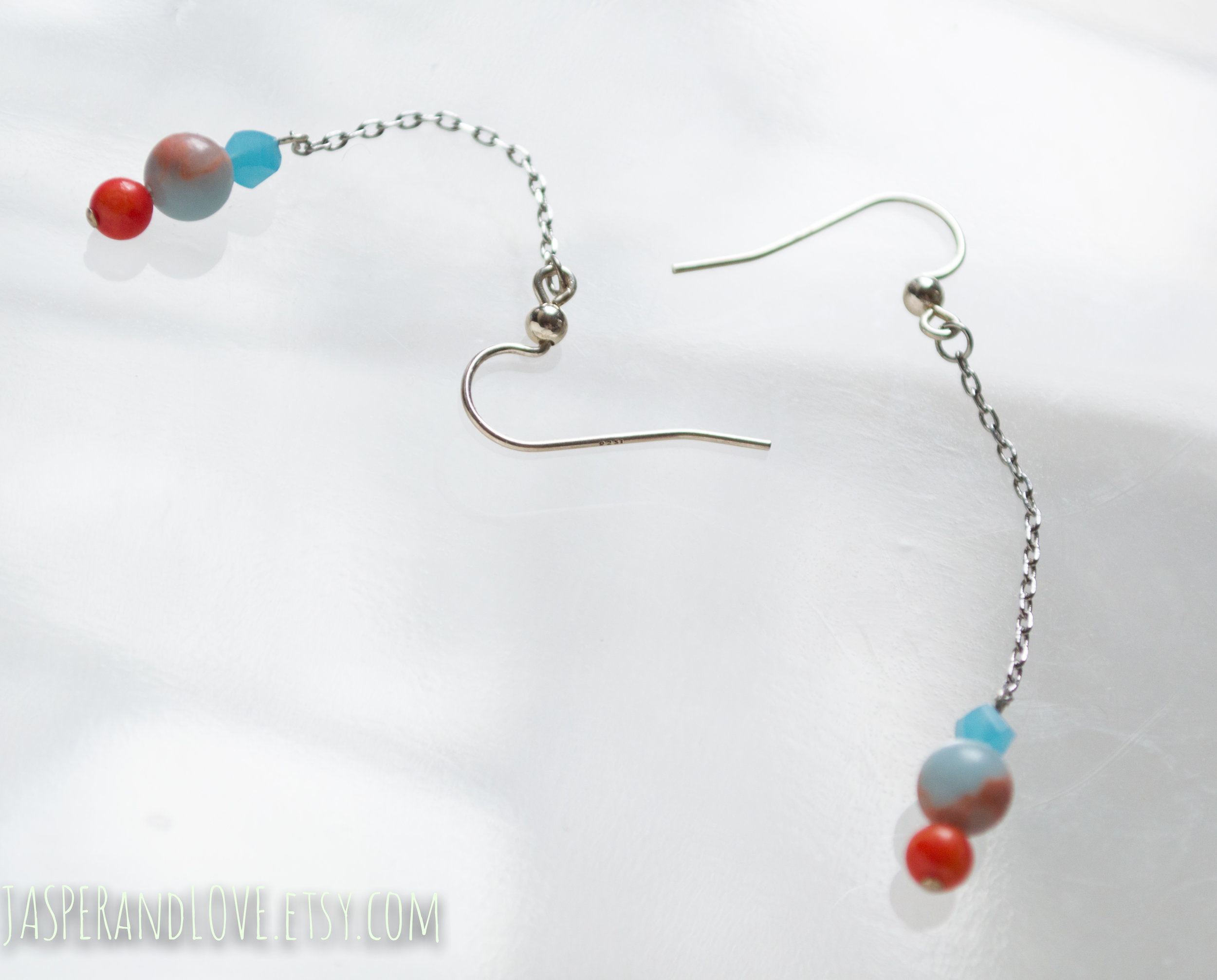 Play Date - Sterling silver, jasper and coral earrings