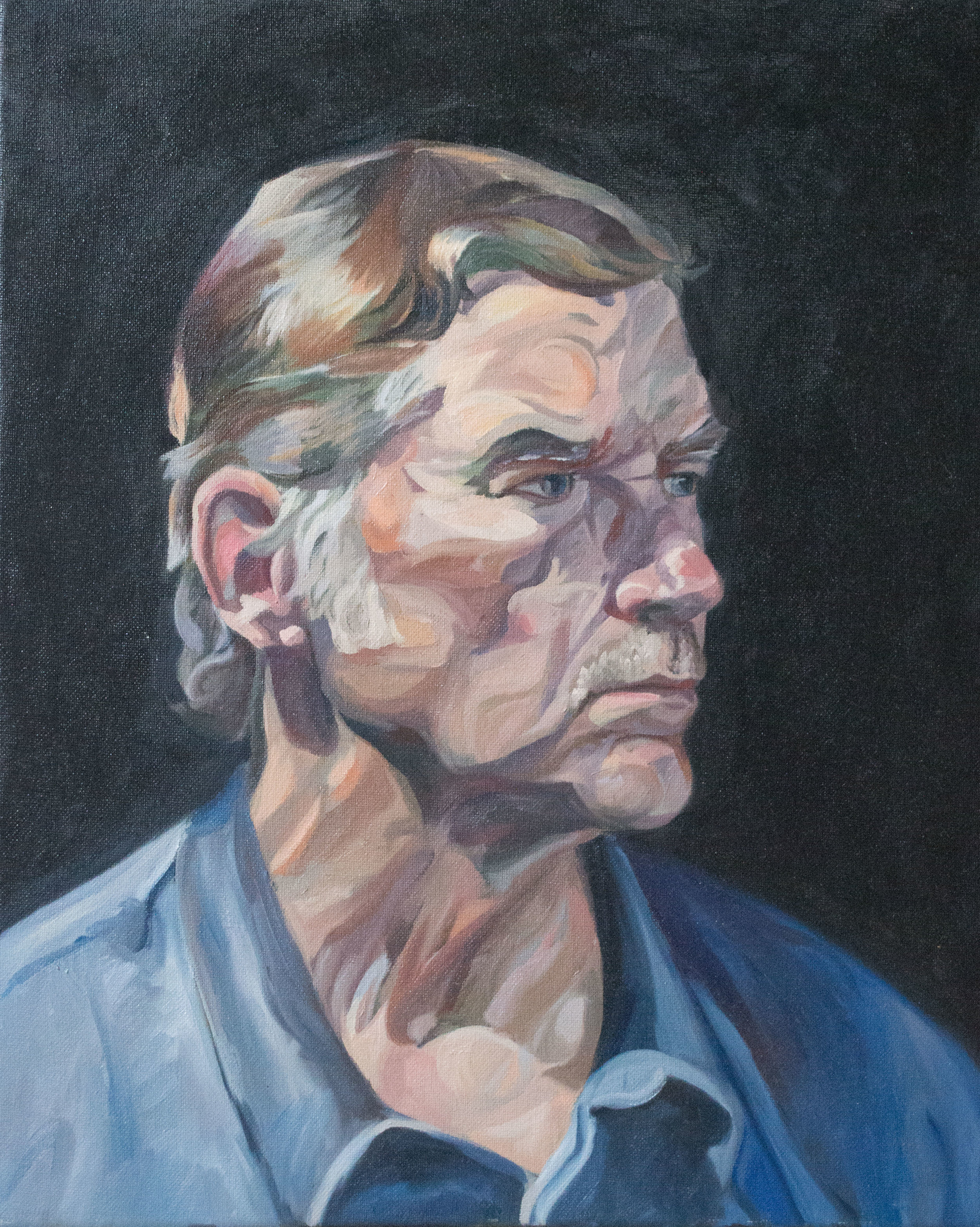 """""""Steve, an exploration""""  Oil on canvas, 16""""x20"""".  Awarded first place in juried show"""