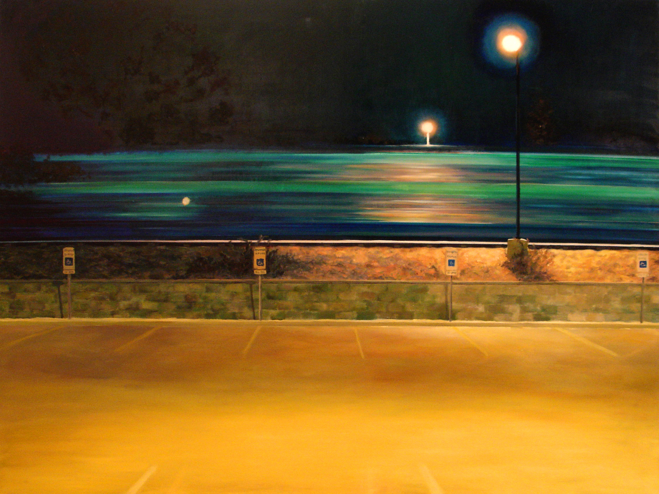 """train""  Oil on plywood, 36""x48"".  Private collection."