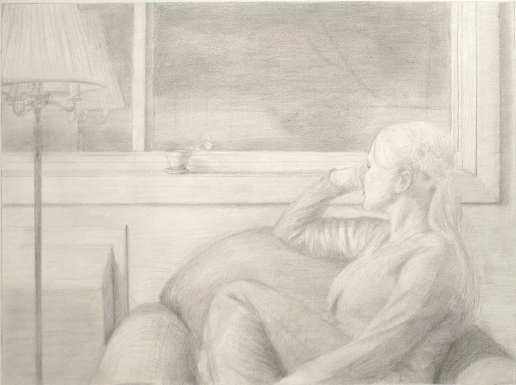 """now we see but dimly""  Graphite on paper, 18""x24""  Private collection."