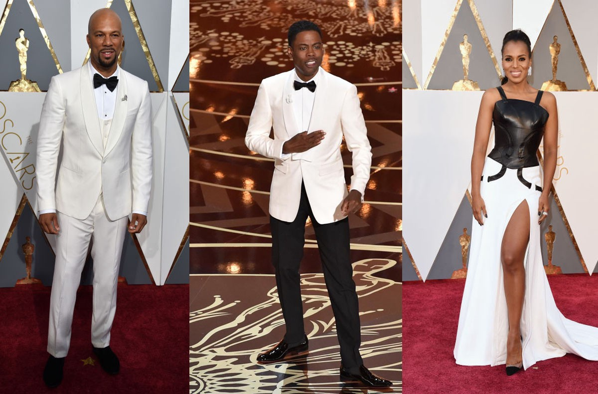Common in Dolce Gabbana, Chris Rock in Burberry, Kerry Washington in Versace photo: Getty Images