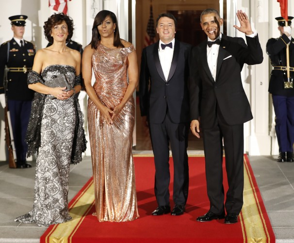 President Obama and first lady Michelle Obama welcome Italian Prime Minister Matteo Renzi and Mrs. Landini to the White House for a state dinner. (Erin Patrick O'Connor/The Washington Post)
