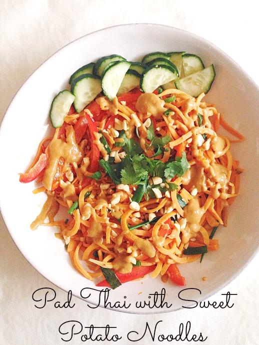 pad thai with sweet potato noodles - this little joy