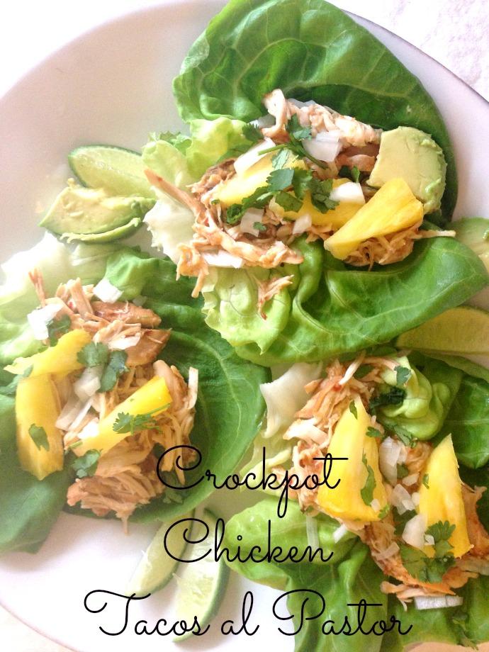 crock-pot chicken tacos al pastor - this little joy