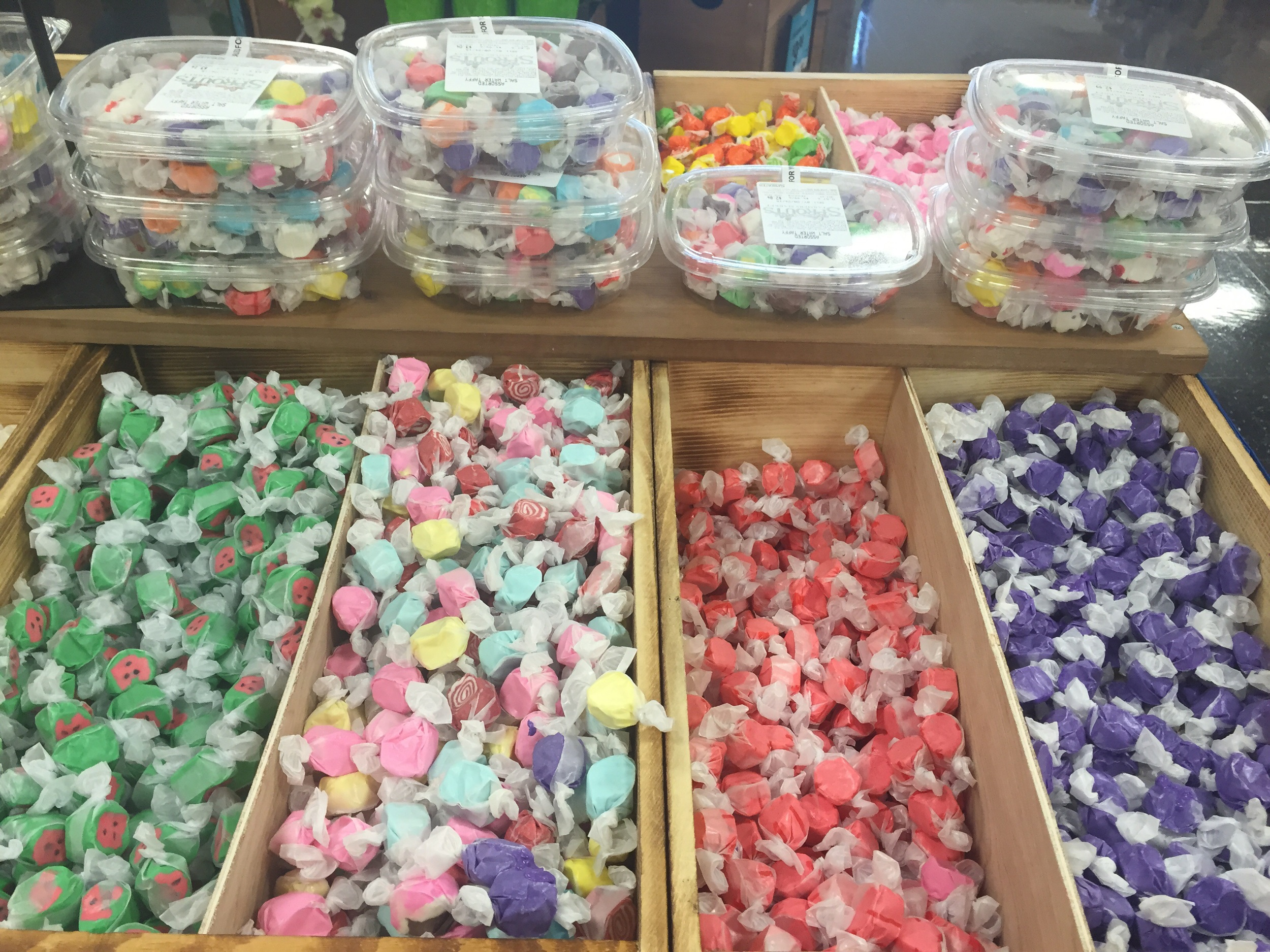 An assortment of salt water taffy...love the bright colors!
