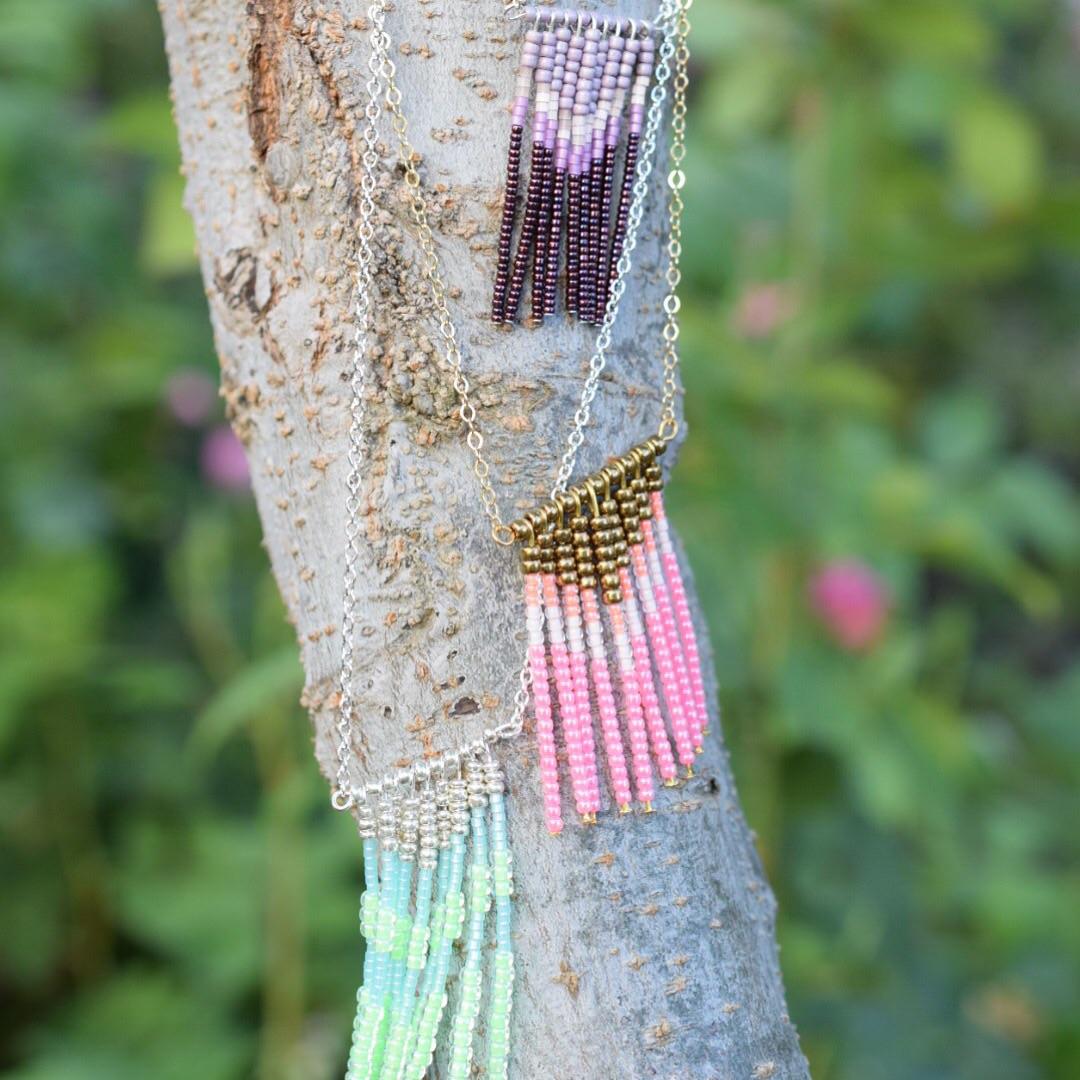 Neon beaded tribal necklaces