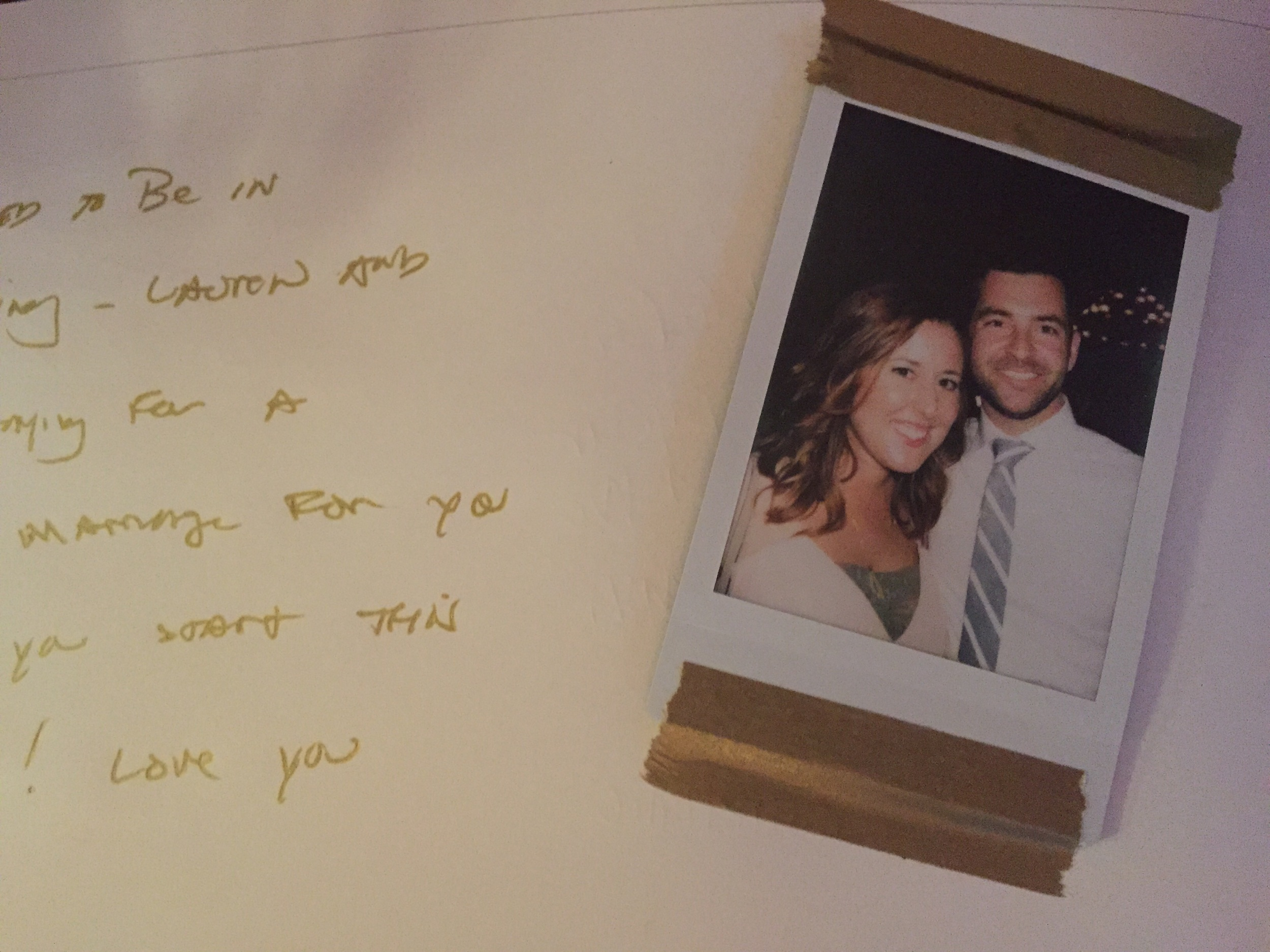 Polaroids in the guest book.