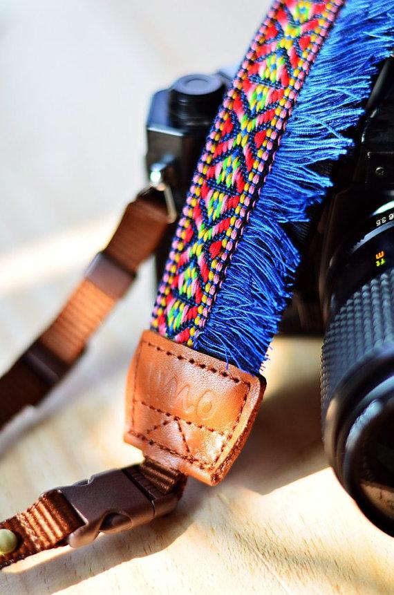 Blue Bohemian Camera Strap - by iMoShop