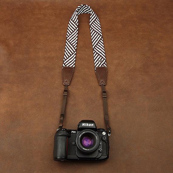 Brown Stripe Camera Strap - by DeirdresLove
