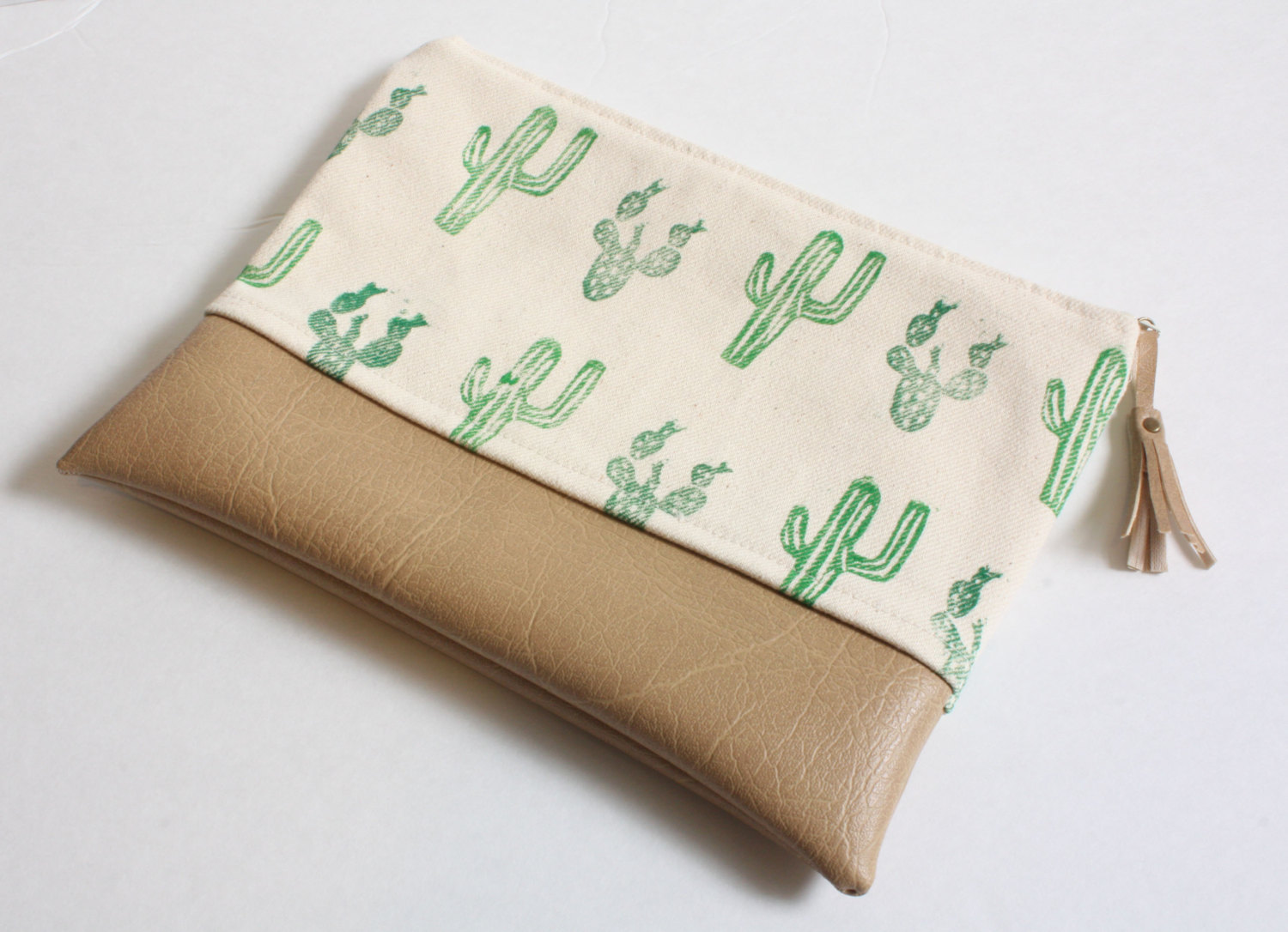 ThoughtfullyMadeCo: Cactus Block Print Clutch