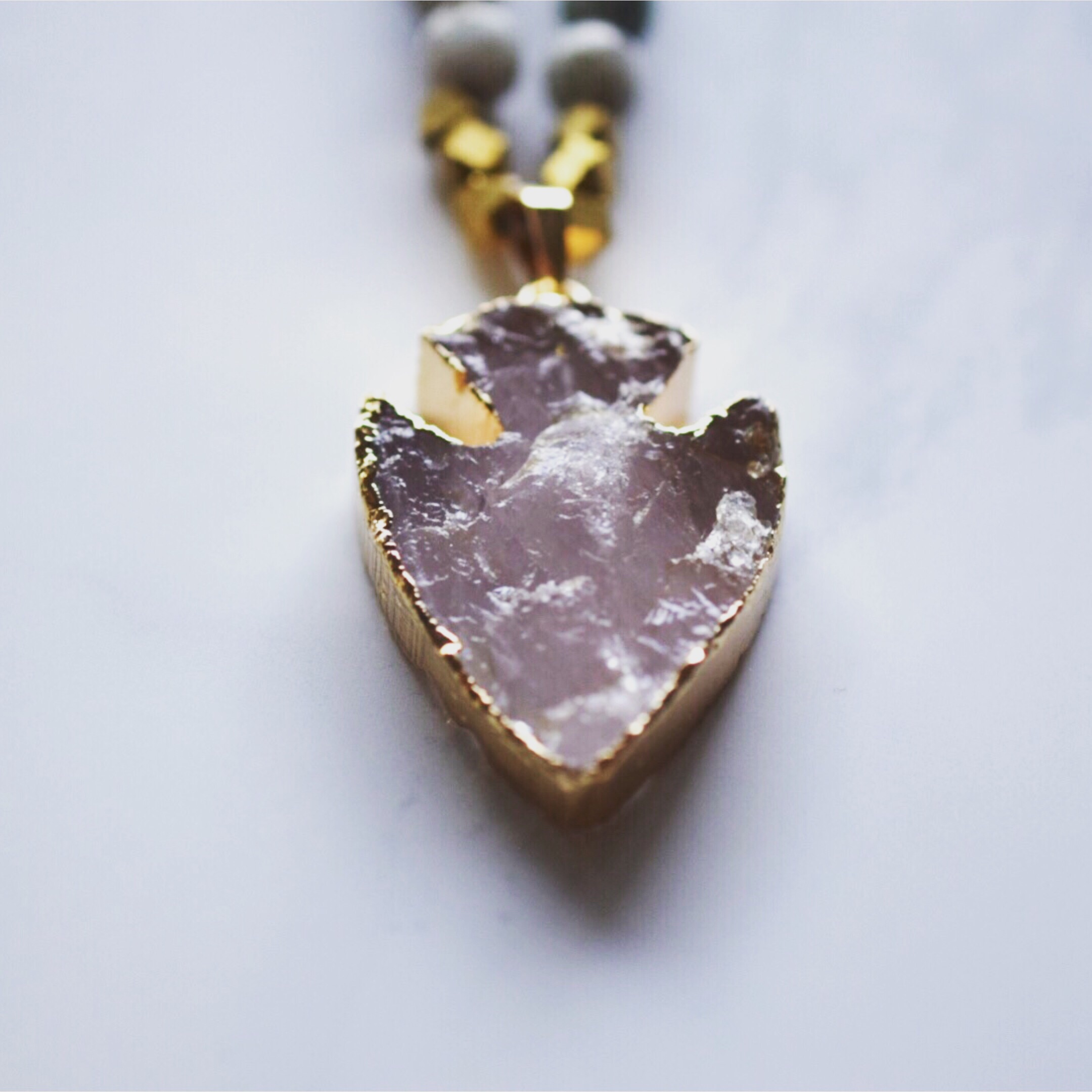 Beaded Jasper Necklace with Rose Quartz Arrowhead, available  here