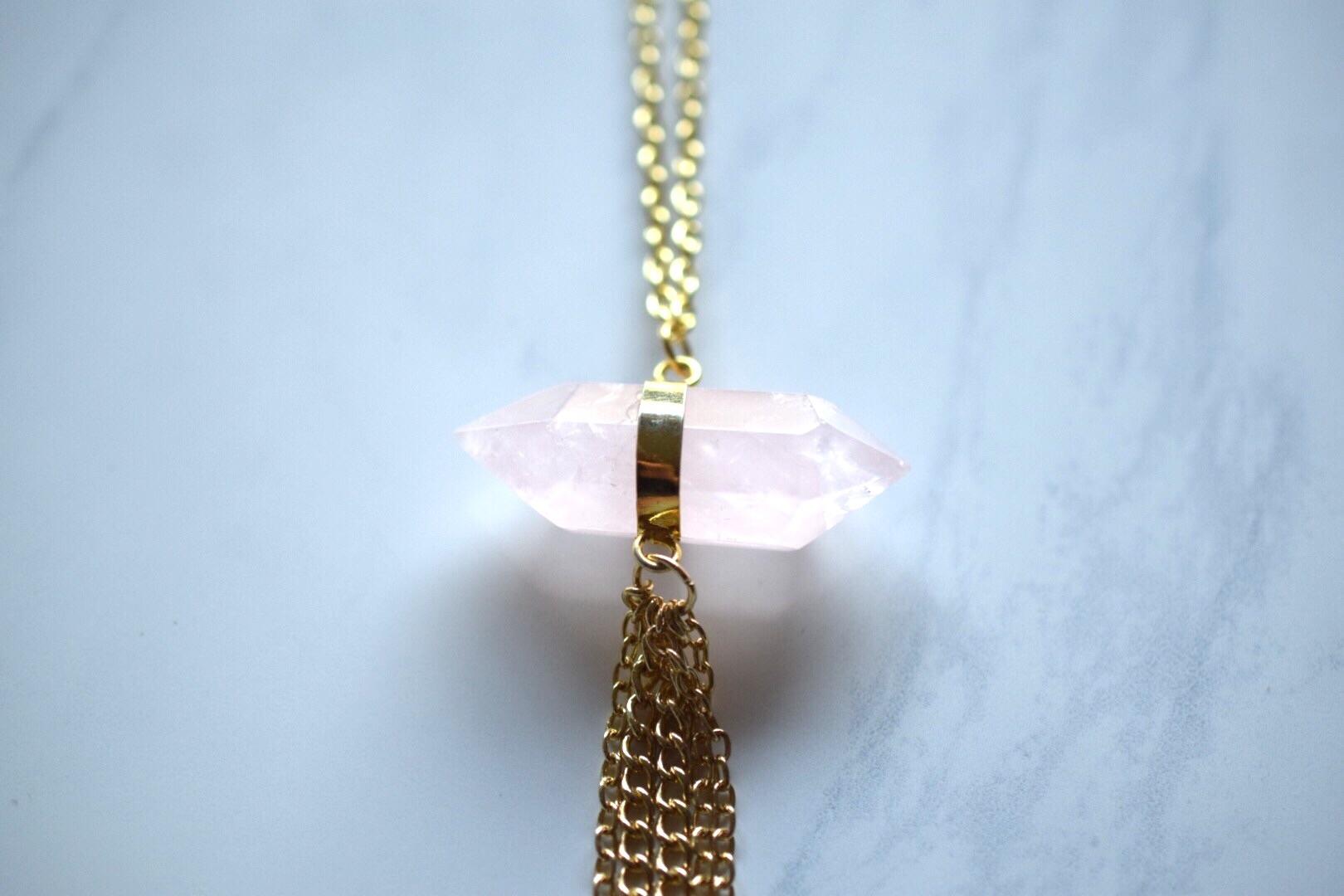 Rose Quartz Tassel Necklace, available  here