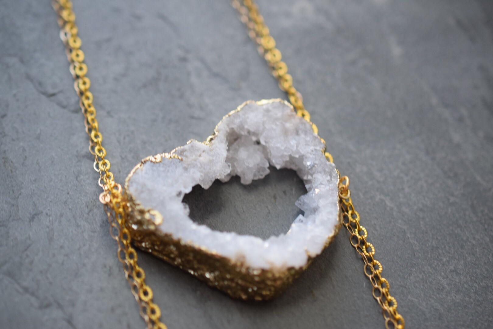 White druzy stone necklace