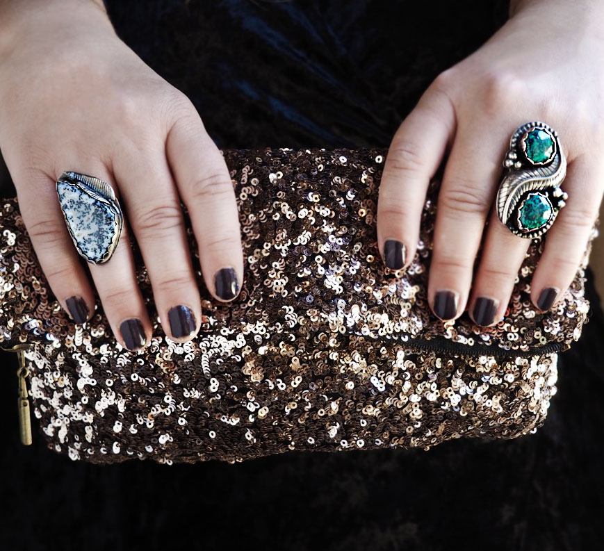 Look 3: Ring Bling! For Christmas Eve this year, I decided pair two sterling silver rings with a sparkly clutch for some shine! The  Dendritic Agate Ring  and the  Double Turquoise Ring  are still available!