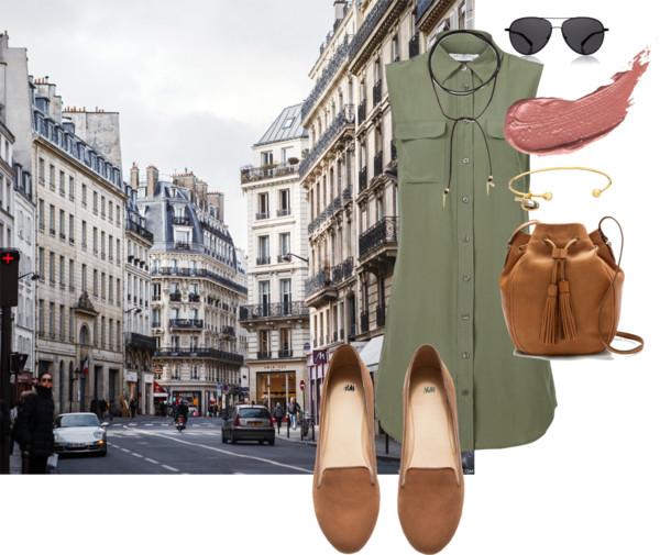 Dress   (similar on sale!) .  Choker .  Sunglasses .  Lipstick .  Bracelet . Bag .  Loafers .