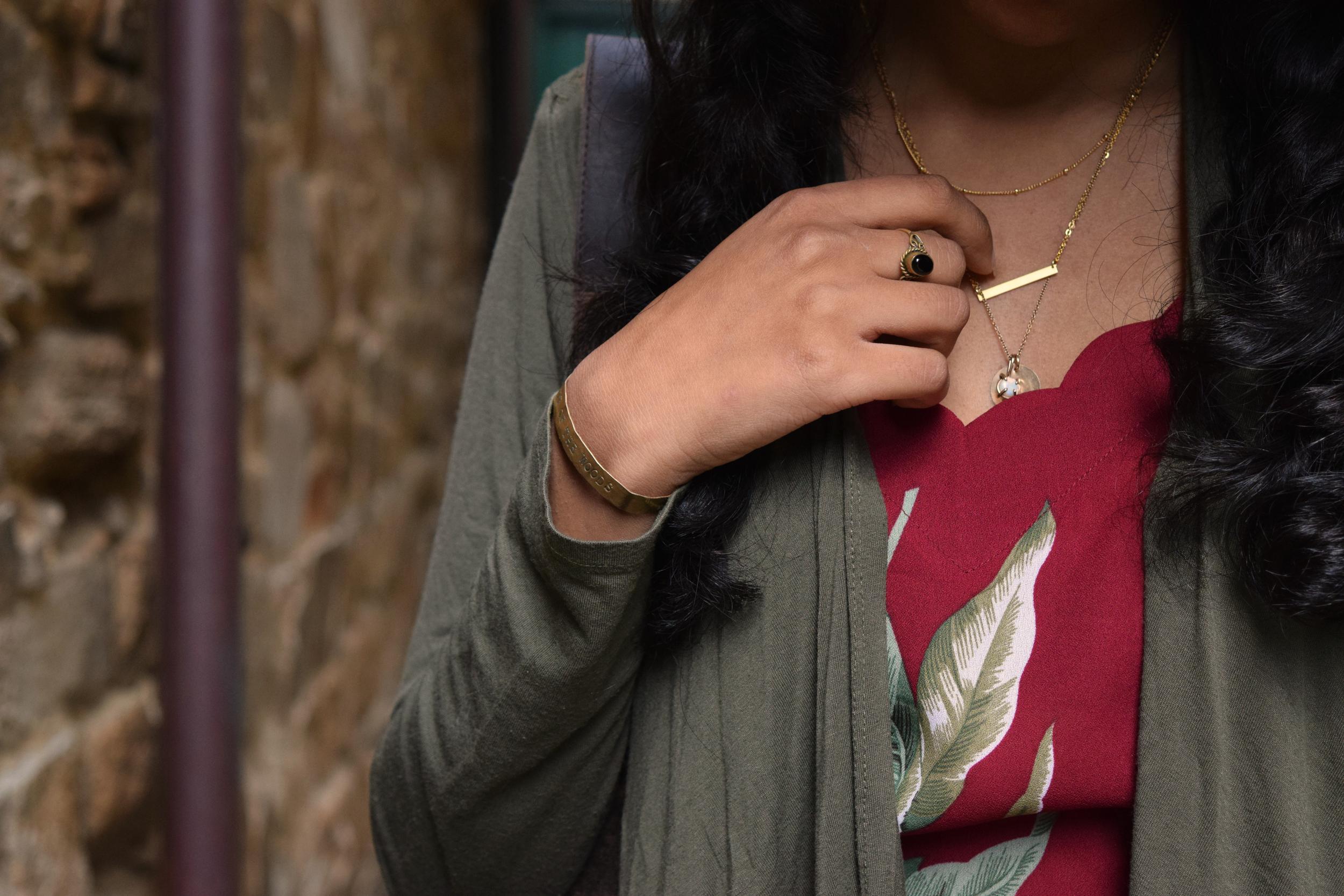 Details: Cardigan .  Ring (similar) .  Bracelet (c/o) similar .  Necklaces (c/o) .