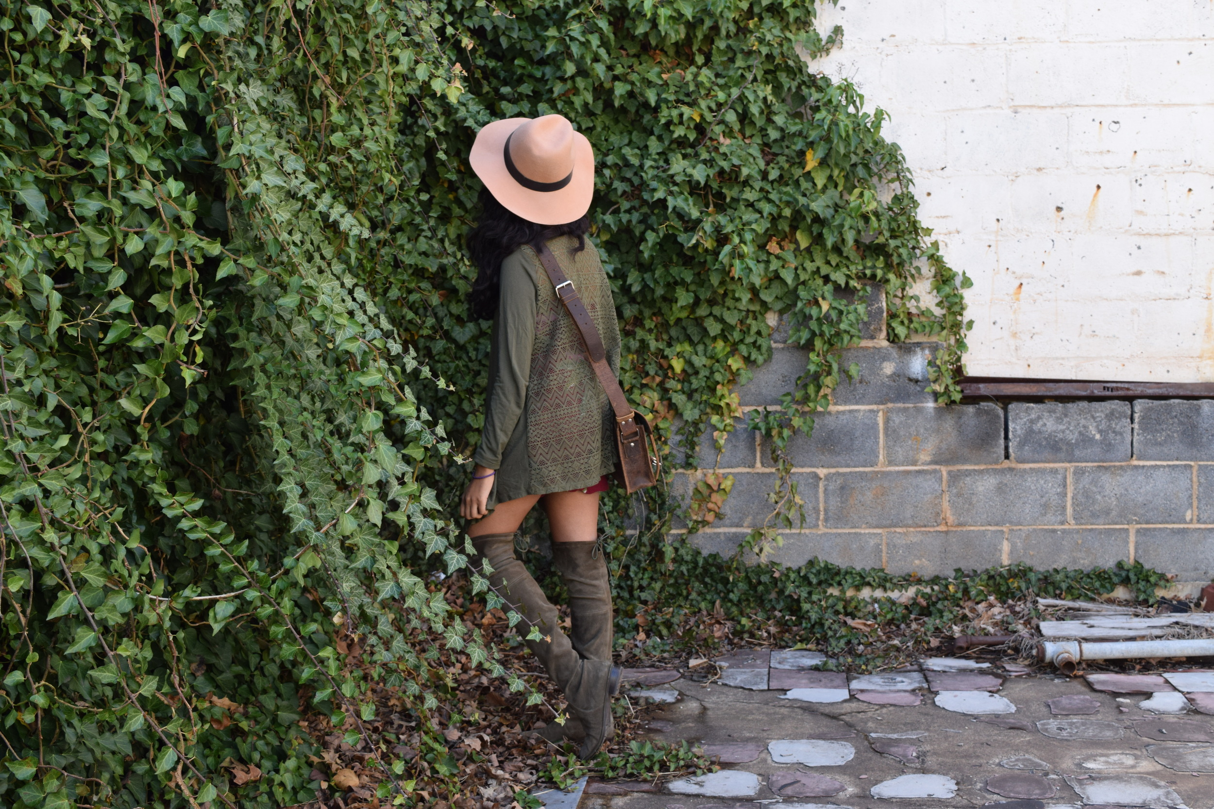 Hat. Cardigan. Bag (c/o). Romper. Boots.