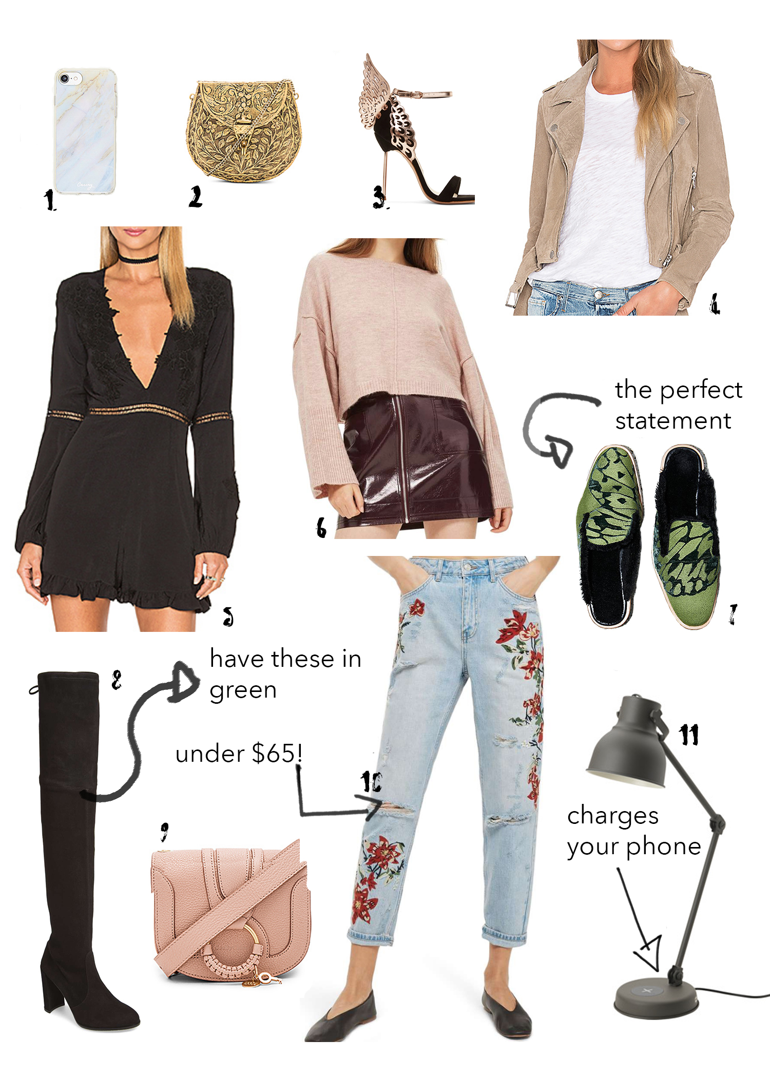 1. Free People Phone Case  //  2. St. Xavier Clutch  //  3. Sophia Webster Heels  //  4. Blank NYC Jacket  //  5. For Love & Lemons Romper (on sale!)  //  6. TOPSHOP Sweater  //  7. Free People Slides  //  8. Stuart Weitzman Boots  //  9. Chloe Crossbody  //  10. TOPSHOP jeans (on sale!)  //  11. IKEA Lamp