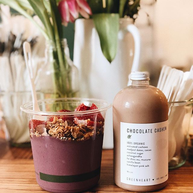 PSA: @greenheartjuiceshop has grown from farmers markets twice a week to 2 actual stores (but also still farmers markets, go find them) & is owned & operated by women & sells chocolate cashew milk & also açaí bowls covered in strawberries & also also I love them #shopsmall