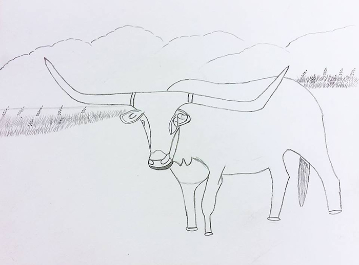 David M.'s graphite drawings stood out, the long horn steer frequently appears in his work