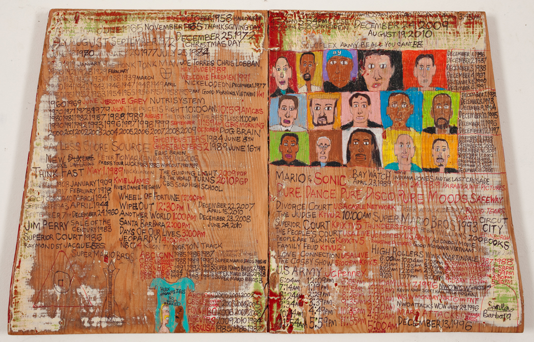 Fifteen People by Daniel Green © 2009 Creativity Explored Licensing, LLC. Sharpie marker , colored pencil, ink, on reycled wood. 14.25 x 22..5 inches
