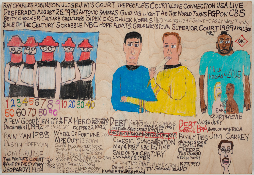 "Daniel Green,  Devo, Spock, No Hold's Barred , micron and colored pencil on wood, 2012, 9.75"" x 14"" x 1"", Image Courtesy of Creativity Explored."