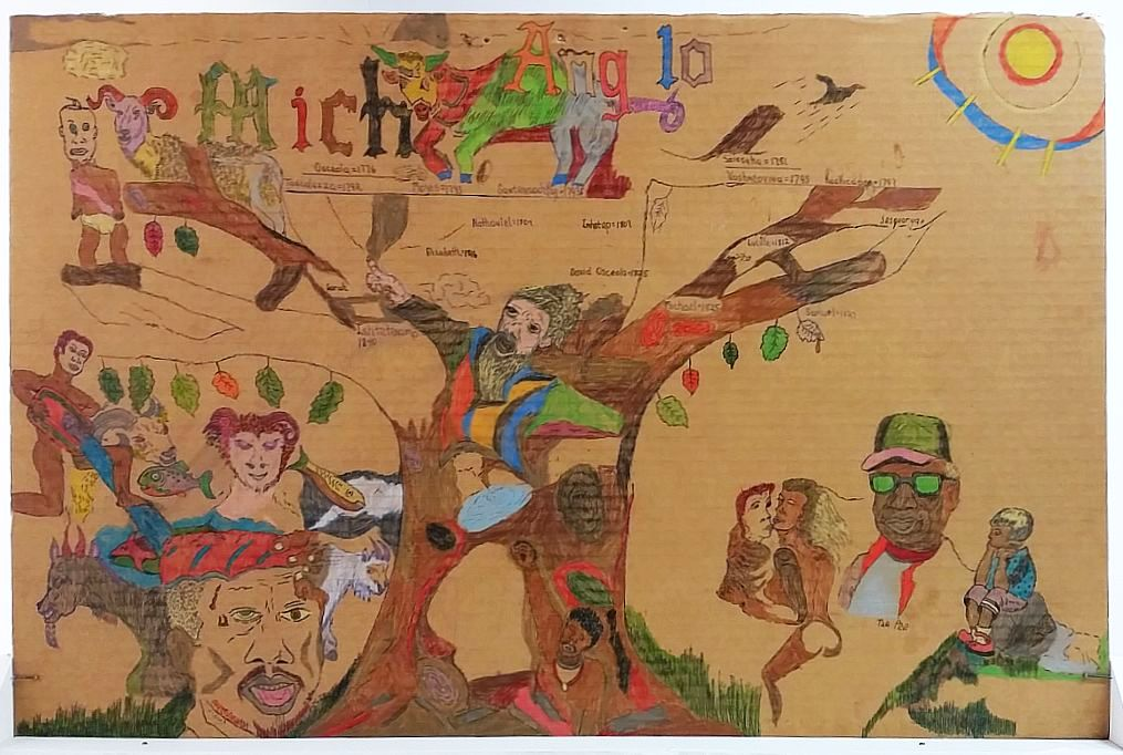 drawing on cardboard by  Michael Bryant