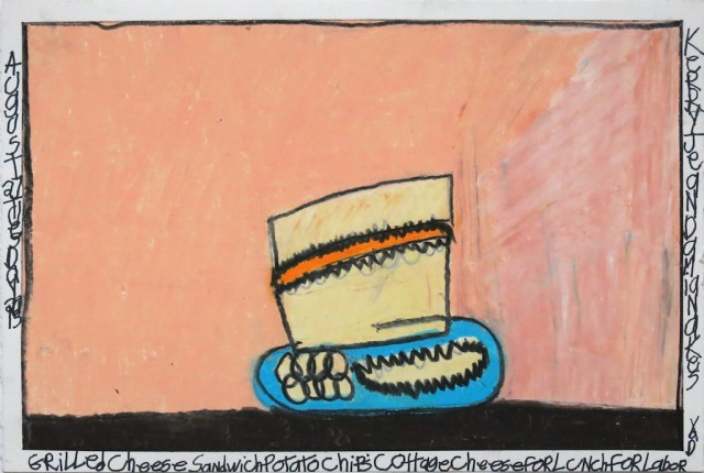 """Grilled Cheese Chips Cottage Cheesefor Lunch for Labor Day  , Kerry Damianakes, Prismacolor andink on paper, 2013, 15"""" x 22"""""""