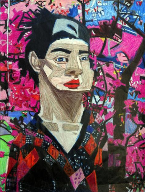 """Untitled  , colored pencil/graphite, 26"""" x 20"""""""