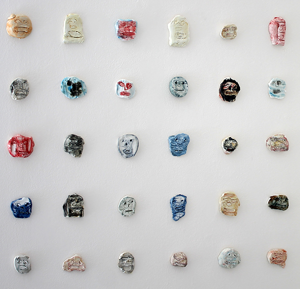 Installation view of ceramic pieces