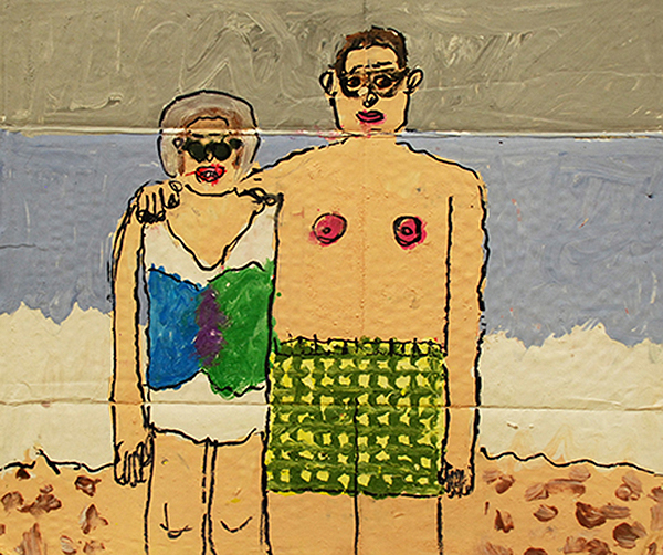 Parents at the Beach , mixed media on cardboard, 13.5″ x 15.5″, 2013