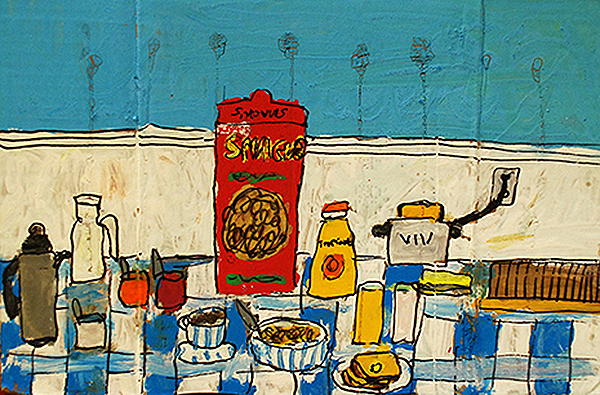 Breakfast Table , mixed media on cardboard, 12.5″ x 18.5″, 2013