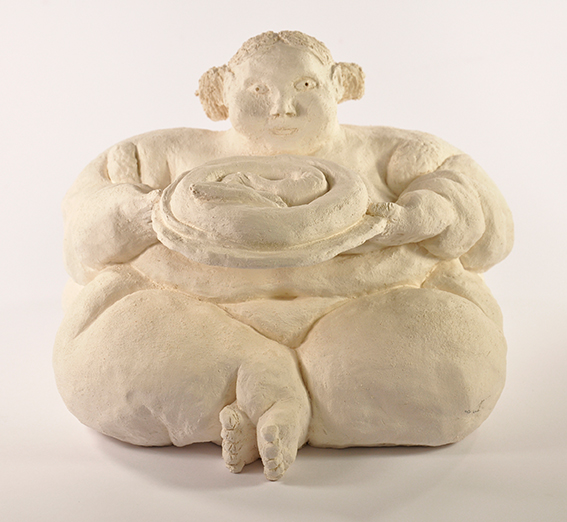 Not titled (woman with snake) , ceramic, 260mm x 170mm x 230mm