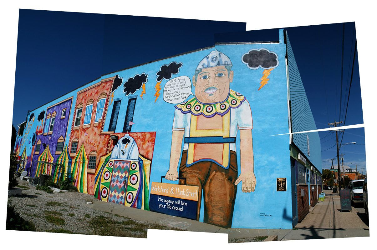 The Visionaries and Voices Northside Studio Building in Cincinnati, featuring a mural of local legend Raymond Thundersky