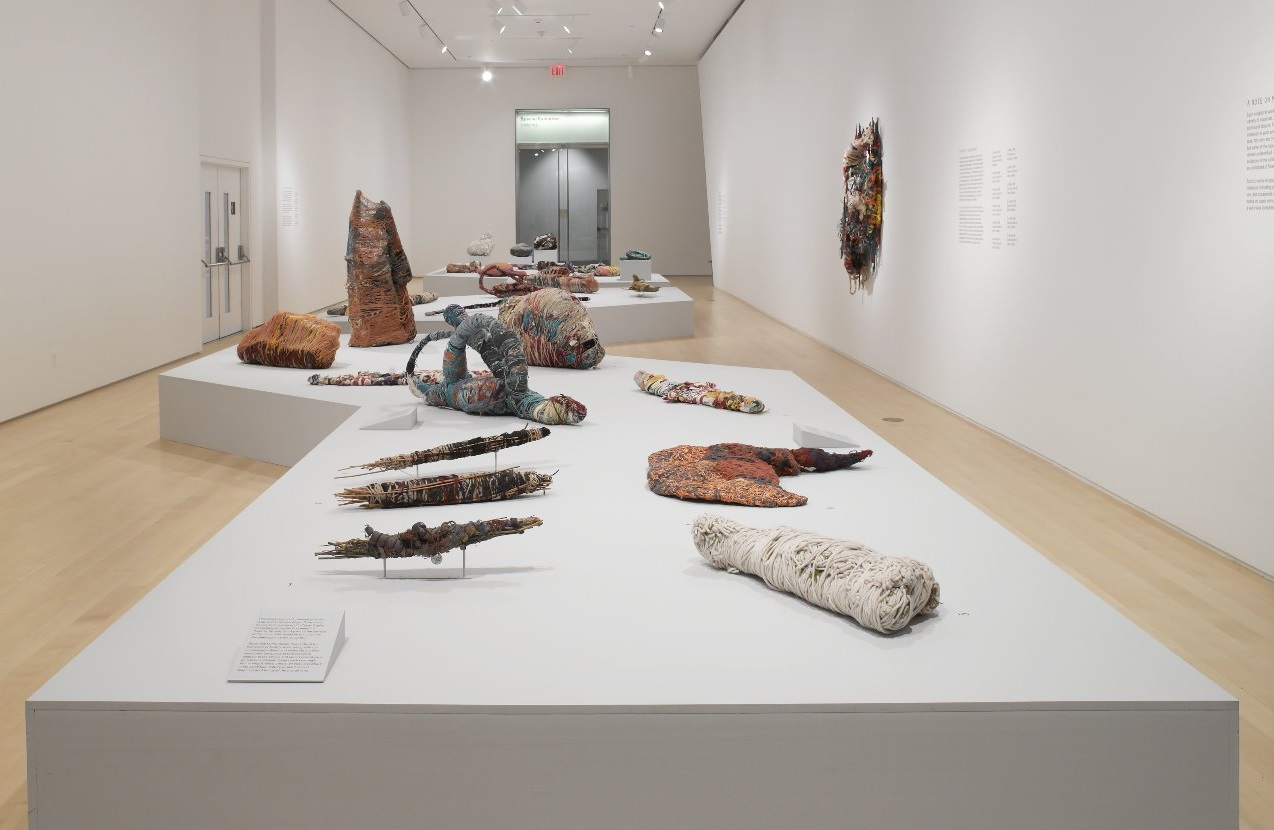 installation view of  Judith Scott - Bound and Unbound, a recent exhibition at the Brooklyn Art Museum