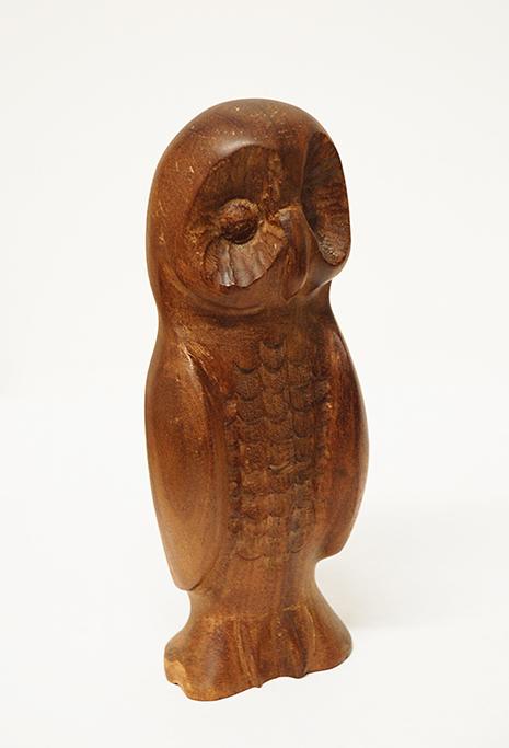 owl sculpture, mahogany
