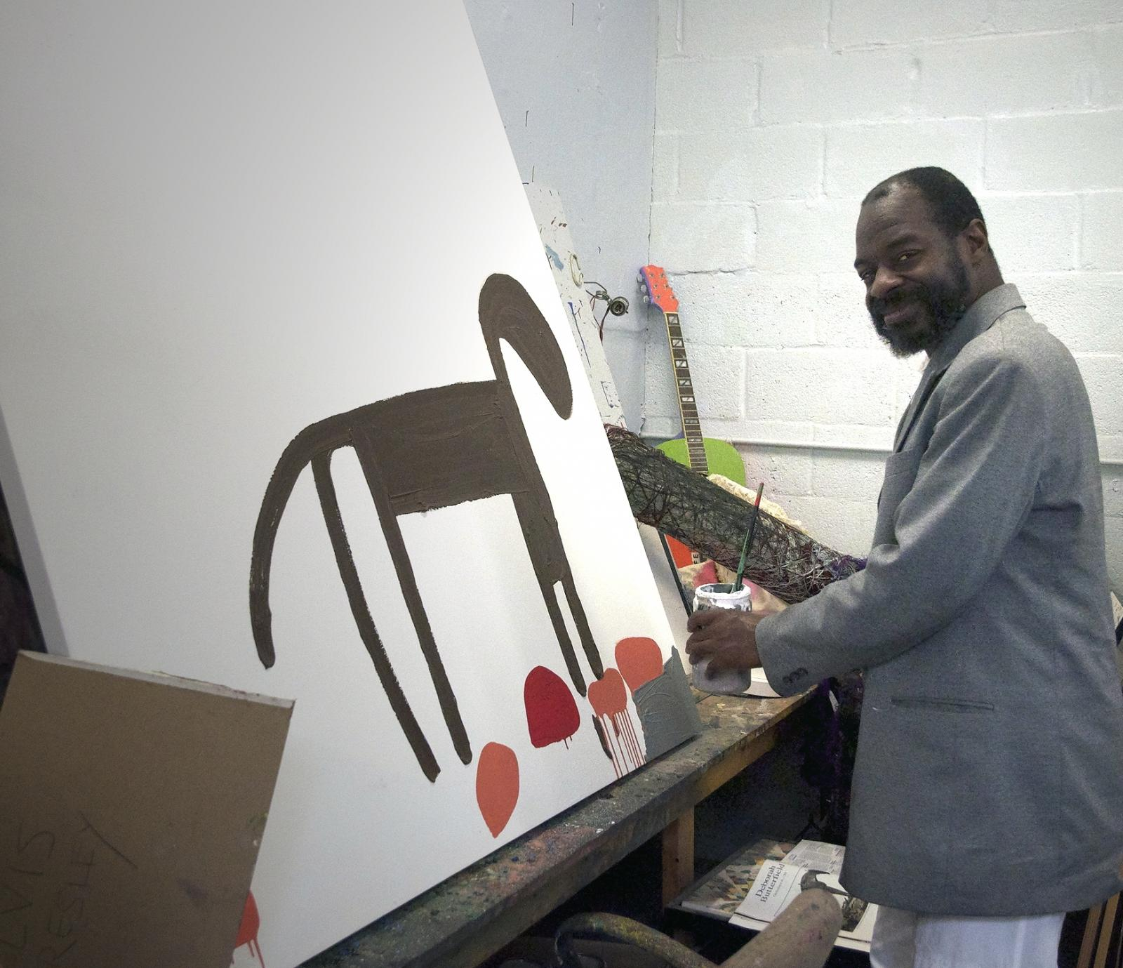 Marlon Mullen in the studio, images courtesy NIAD