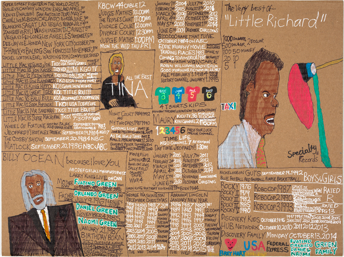 Daniel Green,  Billy Ocean & Little Richard & Tina Turner , colored pencil/micron on paper, courtesy Creativity Explored