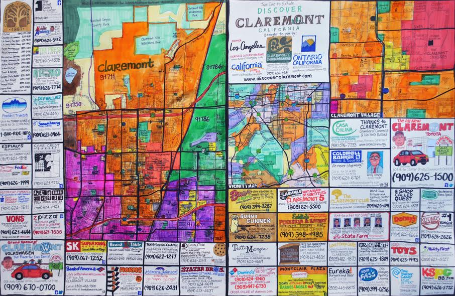 Joe Zaldivar,  Street Map of Claremont, California , marker on paper, courtesy of First Street Gallery