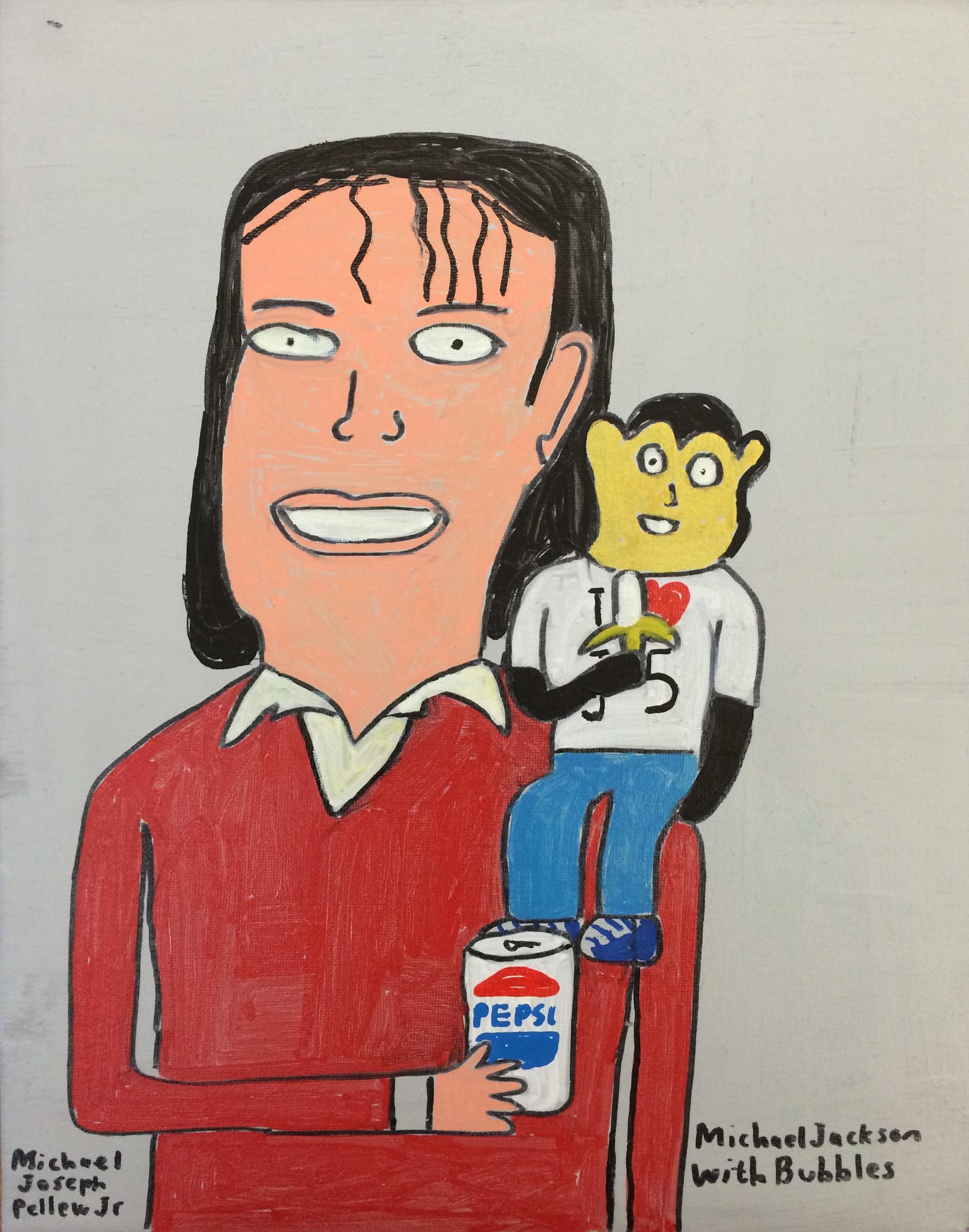 "Michael Pellew,  Michael Jackson and Bubbles , 2014, Acrylic on Canvas, 14""x11"""