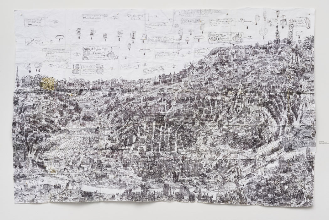 "Untitled , 2015, ballpoint pen on collaged paper, 52"" x 80"""