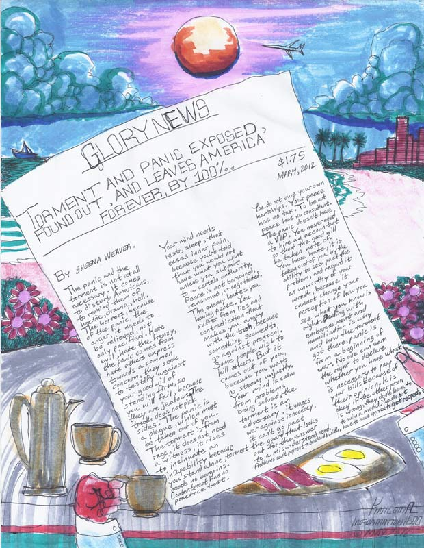 """Knicoma Frederick,  Glory News Article from the Series Information 1600 , 2012, marker and pen on paper, 8 ½"""" x 11"""""""