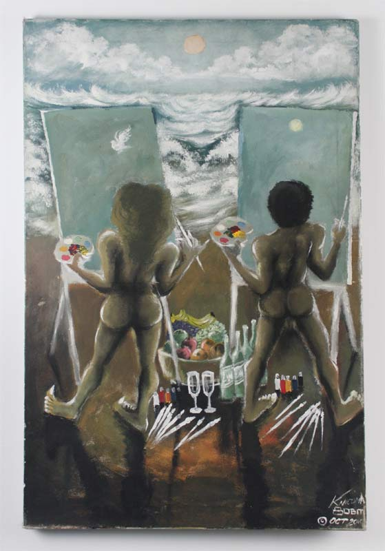 "Knicoma Frederick,  Untitled (Couple Painting/Beach Scene)  from the Series  80 Bit , 2010, Acrylic on canvas, 36"" x 24"""