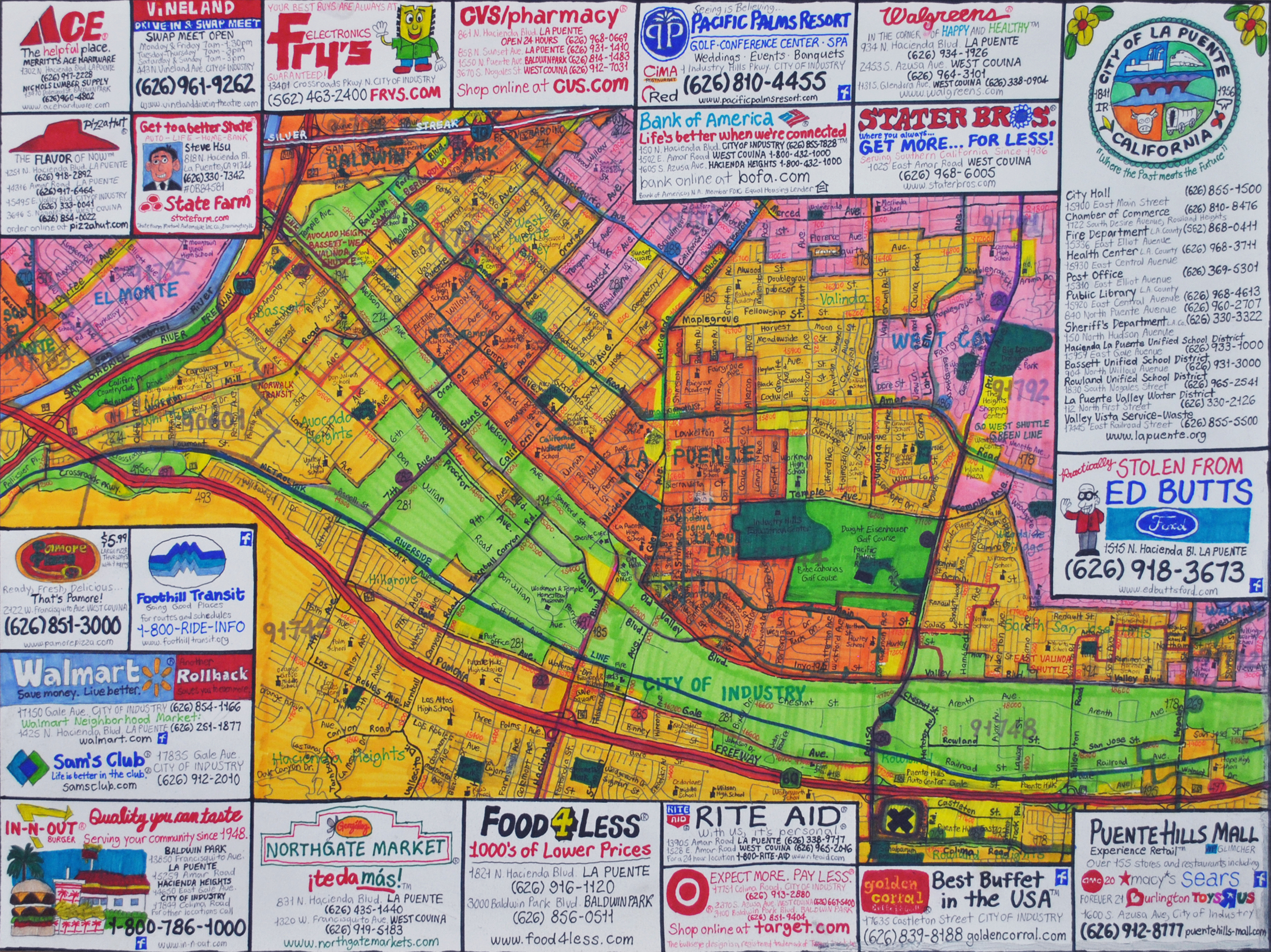 """Street Map of City of Industry, California , graphite, micron, and marker on paper, 18"""" x 24"""","""