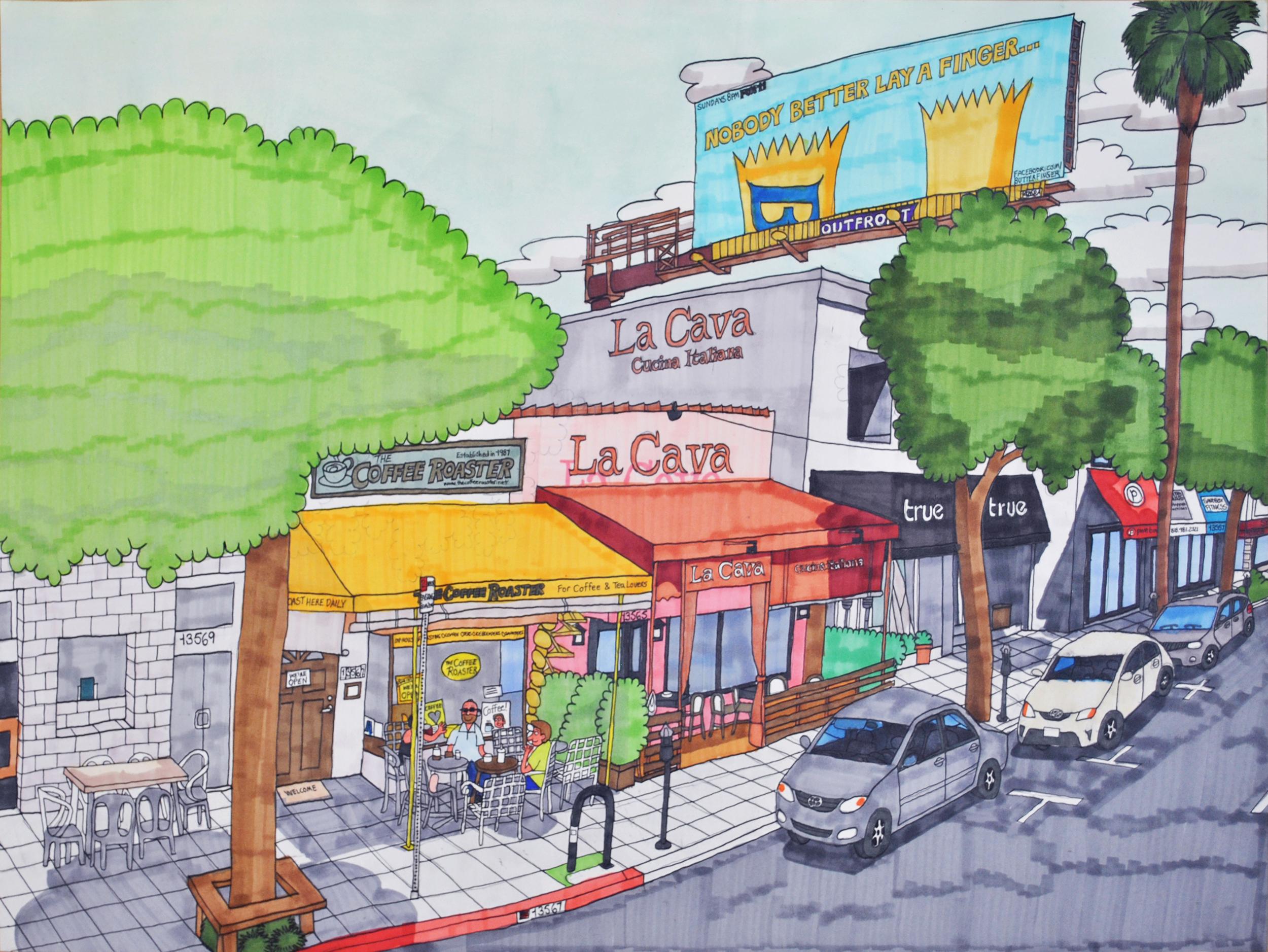 "The Coffee Roaster, 13567 Ventura Boulevard, Sherman Oaks, California,  graphite, micron, and marker on paper, 18"" x 24"", 2016"