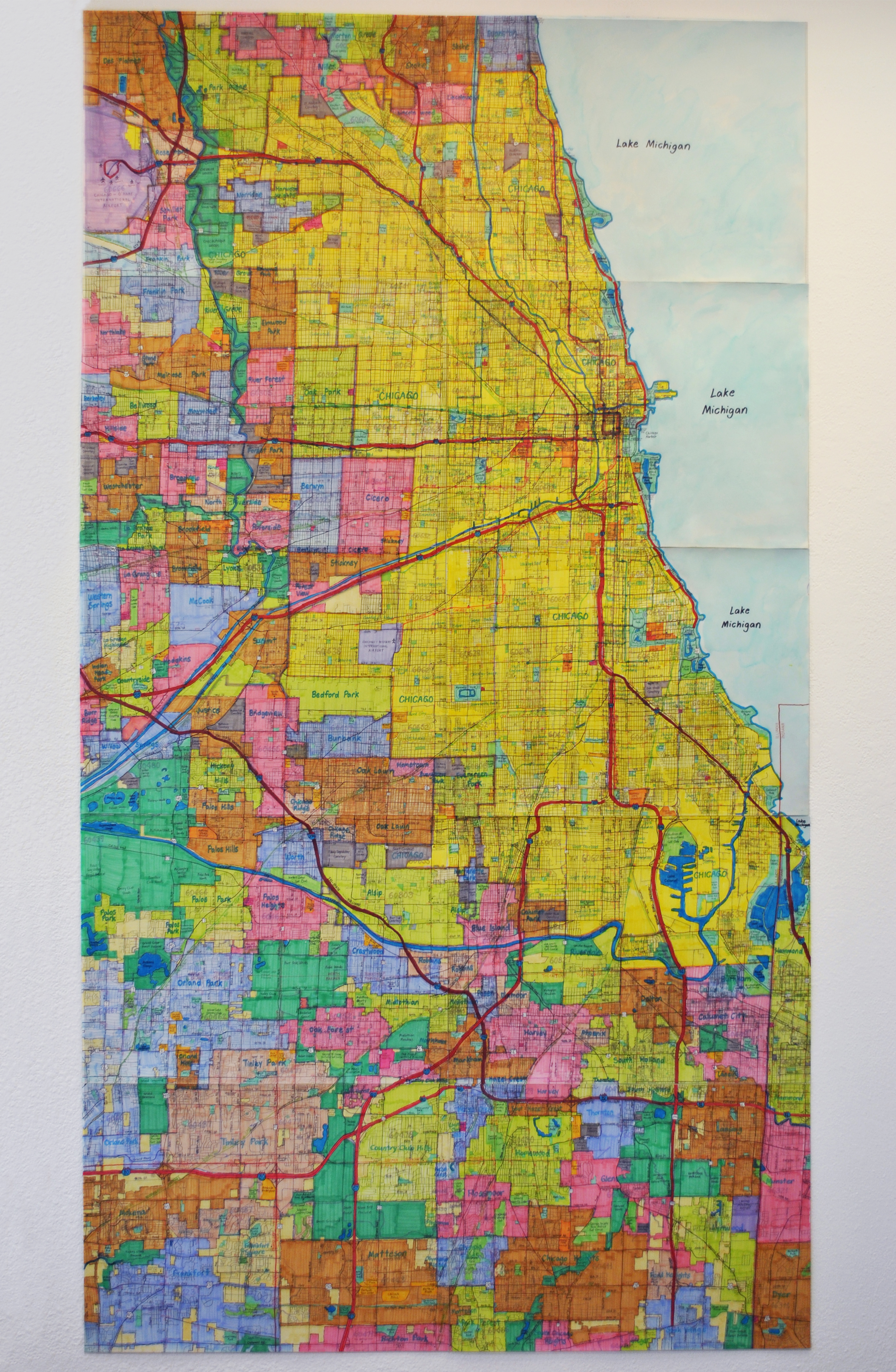 "Chicago Area Vicinity Map , graphite, micron, and marker on paper, 90"" x 48"""