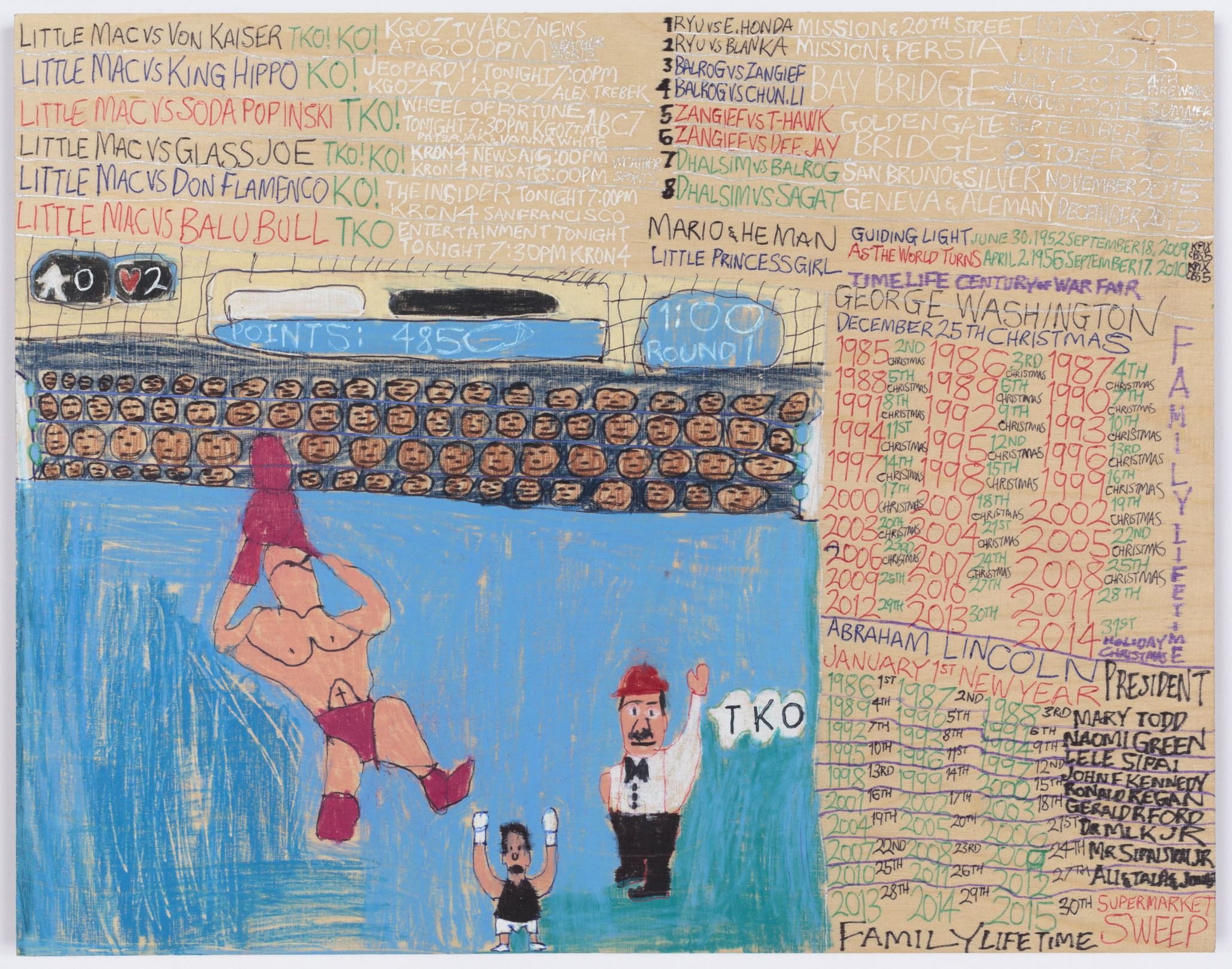 Daniel Green,  Little Mac vs Soda Poponski , 2015, mixed media on wood, 11.5 x 15 inches