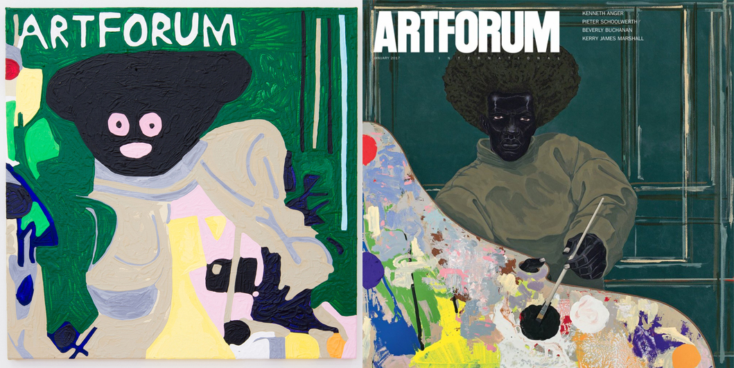 Left: Marlon Mullen's  U  ntitled ( 2017), Right: Mullen's reference, Kerry James Marshall's   Untitled    (2008)  as it appeared on the cover of ARTFORUM, January 2017