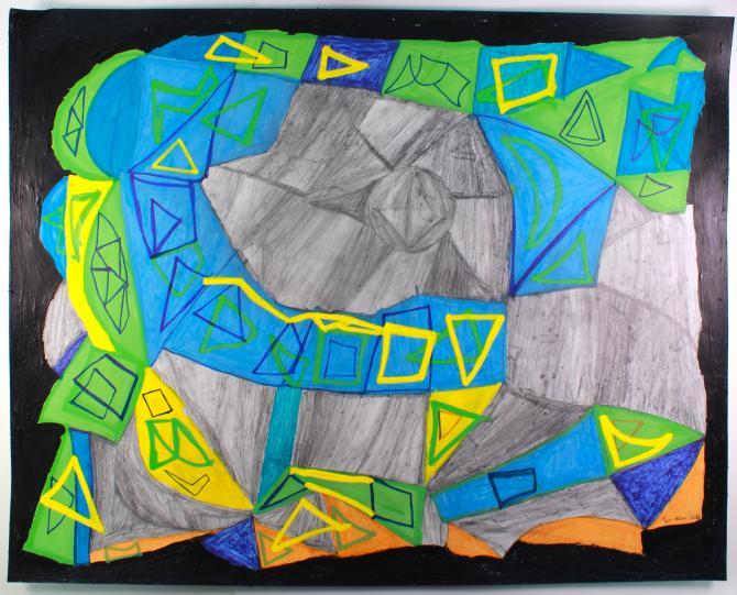 "Tim Stone,  Shambula , 2015, Pencil, paint marker on paper, 19""x24"""