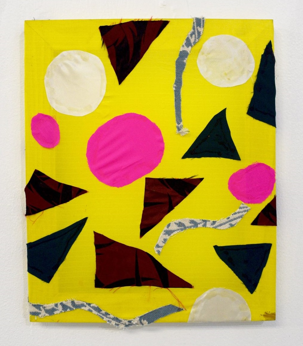 "Linda Ruzga,  Flowers , 2016, Fabric and glue, 9"" x 12"""